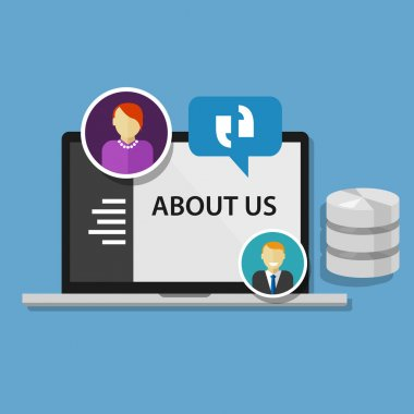 about us page concept icon data profile company