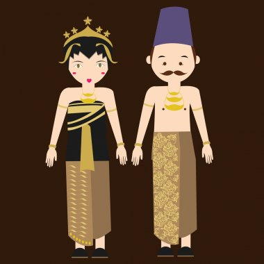 central java javanese indonesian traditional clothes woman dress vector cartoon costume asian