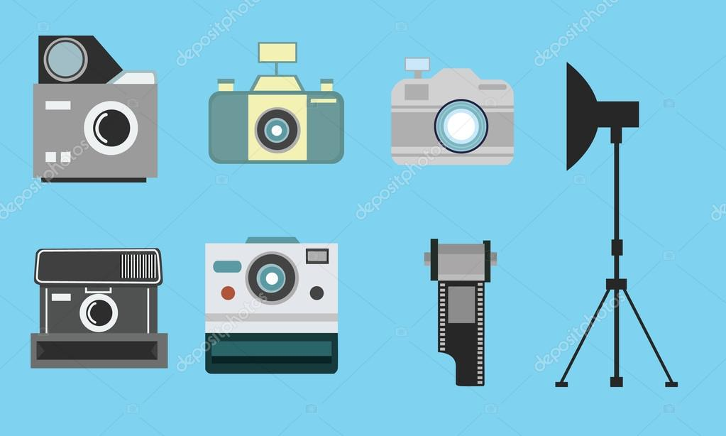 Camera Vintage Vector Free : Camera vintage flat icon set film roll photography collection