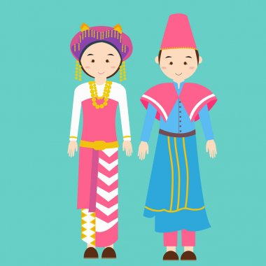 couple men woman wearing traditional wedding clothes north sumatra indonesia