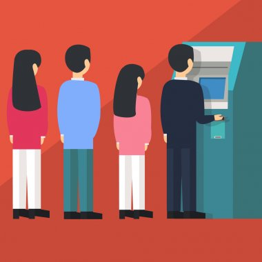 people waiting in line queue to draw money from self-service ATM Automated Teller Machine cartoon vector illustration