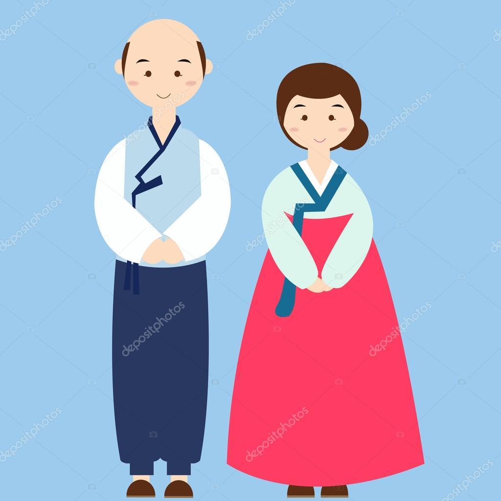 韓国の伝統的な服を着てカップル衣装アジア結婚式ドレス — ストック