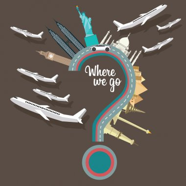 where to we go traveling places plane question mark flying destination around the world vector illustration