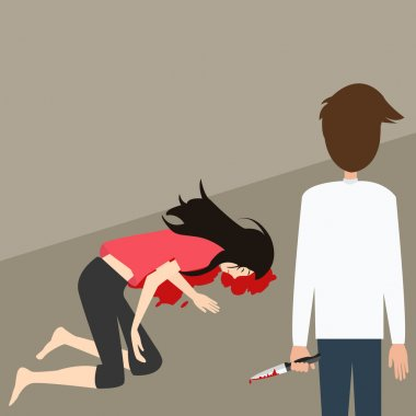 murder case man stabbed woman with knife blood vector illustration