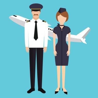 Pilot stewardess flight attendance cabin crew in uniform plane vector character stock vector