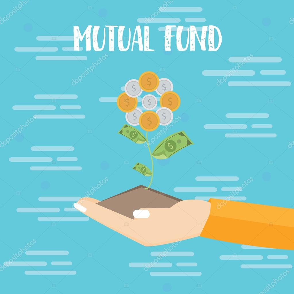 mutual fund investment hand grow plant dollar coin vector flat illustration