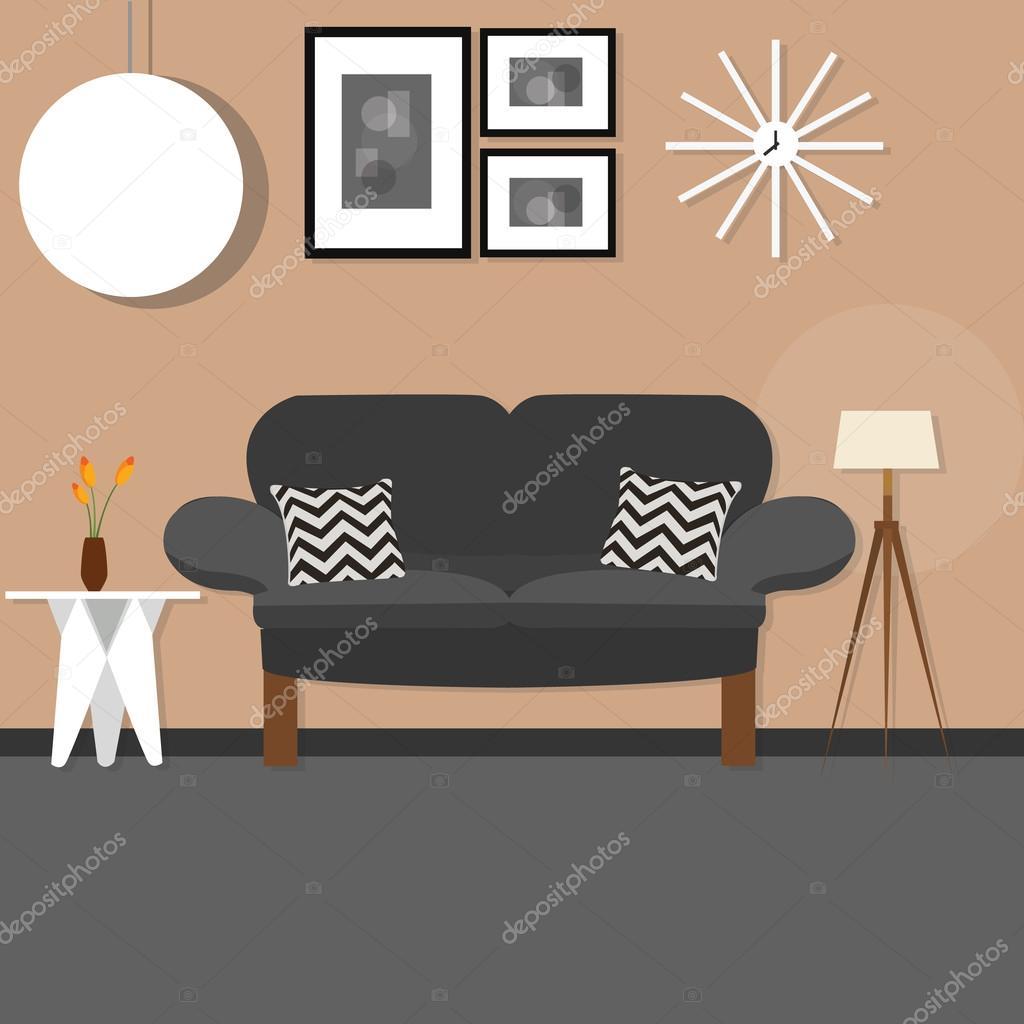 woonkamer met sofa klein bureau hangende en staande lamp bruin muur ...