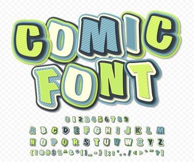 Green-blue high detail comic font. Comics, pop art