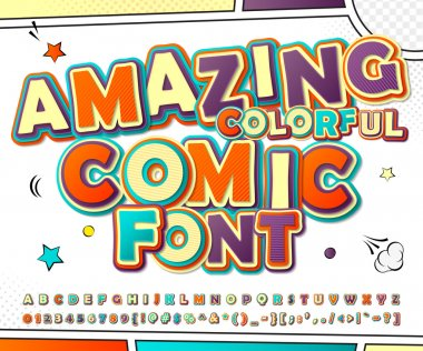 Creative colorful comic font. Comics book, pop art