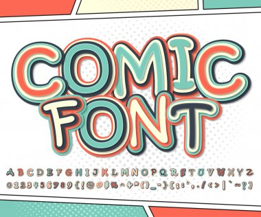 Cool multicolored comic font, comics book page