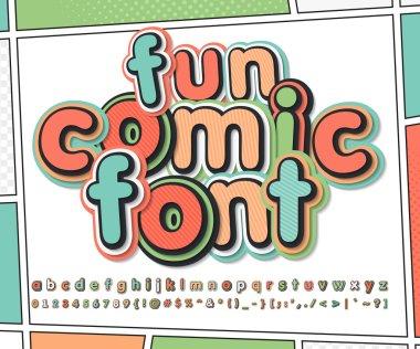 Fun multicolored comic font, comics book page