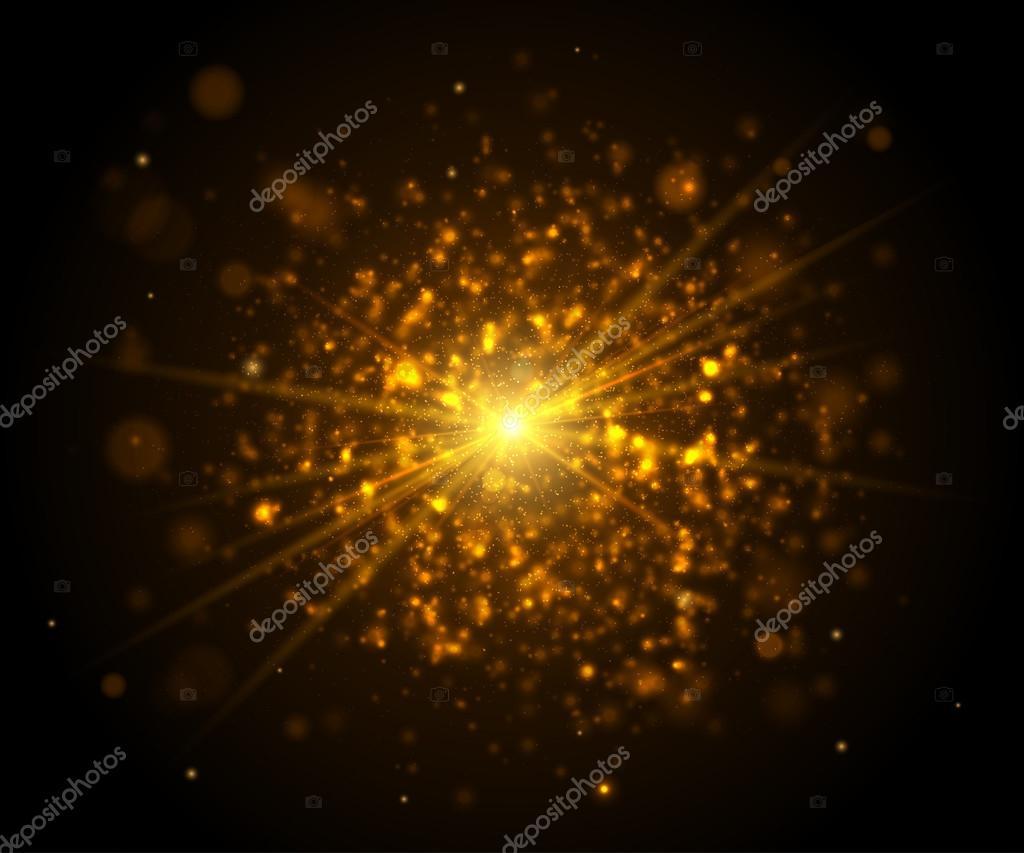 reflejos de luz dorada brillo csmico efectos de iluminacin con flash u vector de