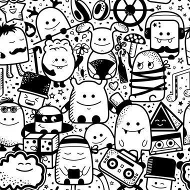 cartoon monsters pattern