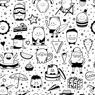 Seamless pattern. Funny monsters, personage. Hand drawn cartoon animals
