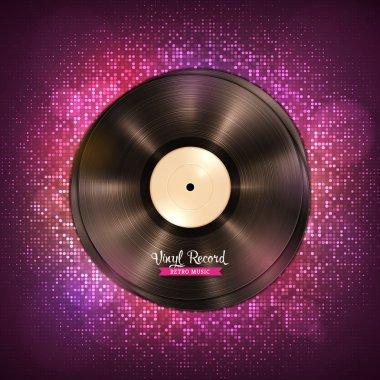 Long-playing LP vinyl records. Music backdrop with disco lights