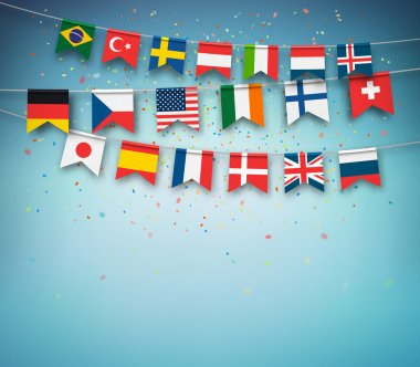Colorful flags of different countries world. Garland with international banners