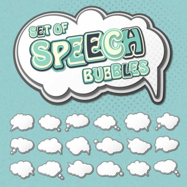 Collection of templates speech bubbles in pop art style. Elements of design comic books. Set of multilayer thought or communication bubbles. White 3d stickers. Vector illustration clip art vector