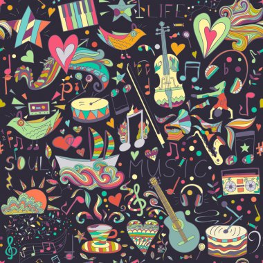 Seamless pattern. Hand drawn colorful musical background