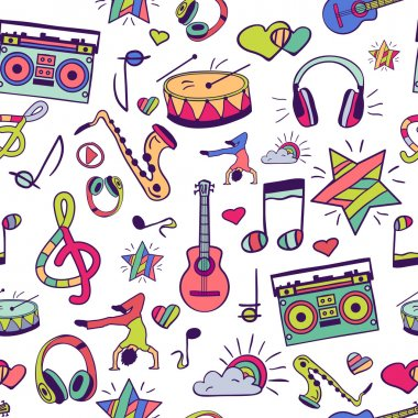 Notes, musical instruments, music