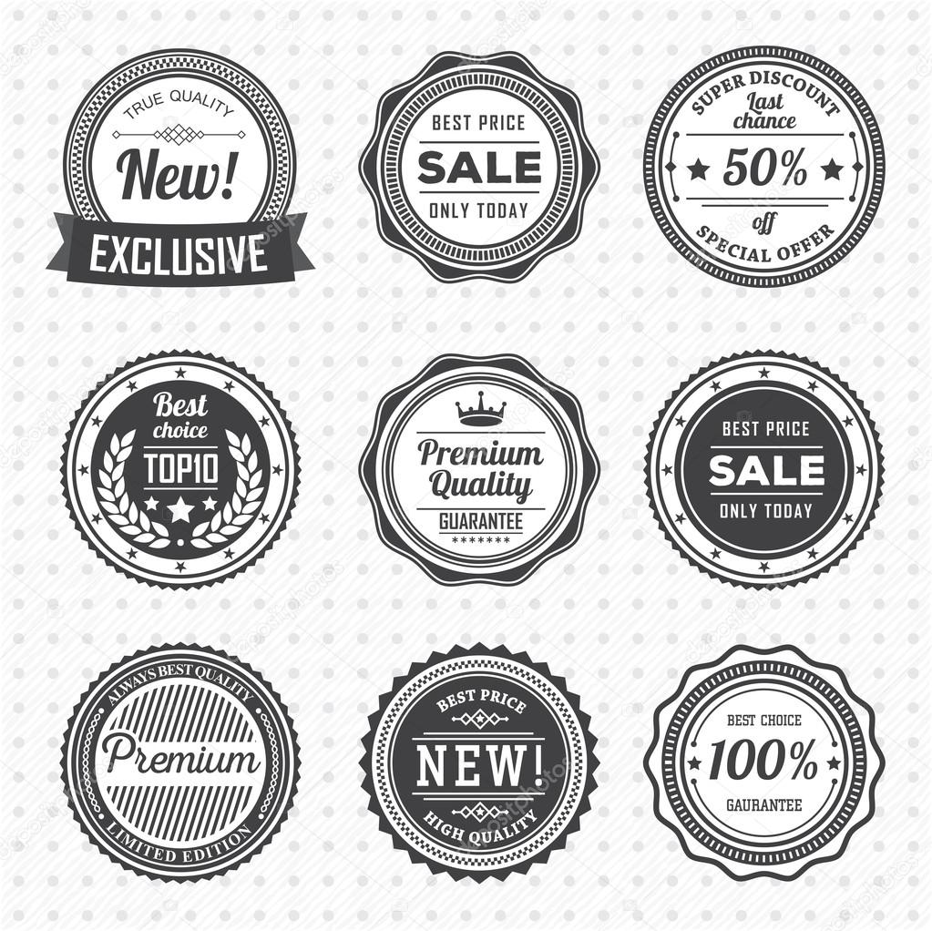 vintage labels template set stock vector