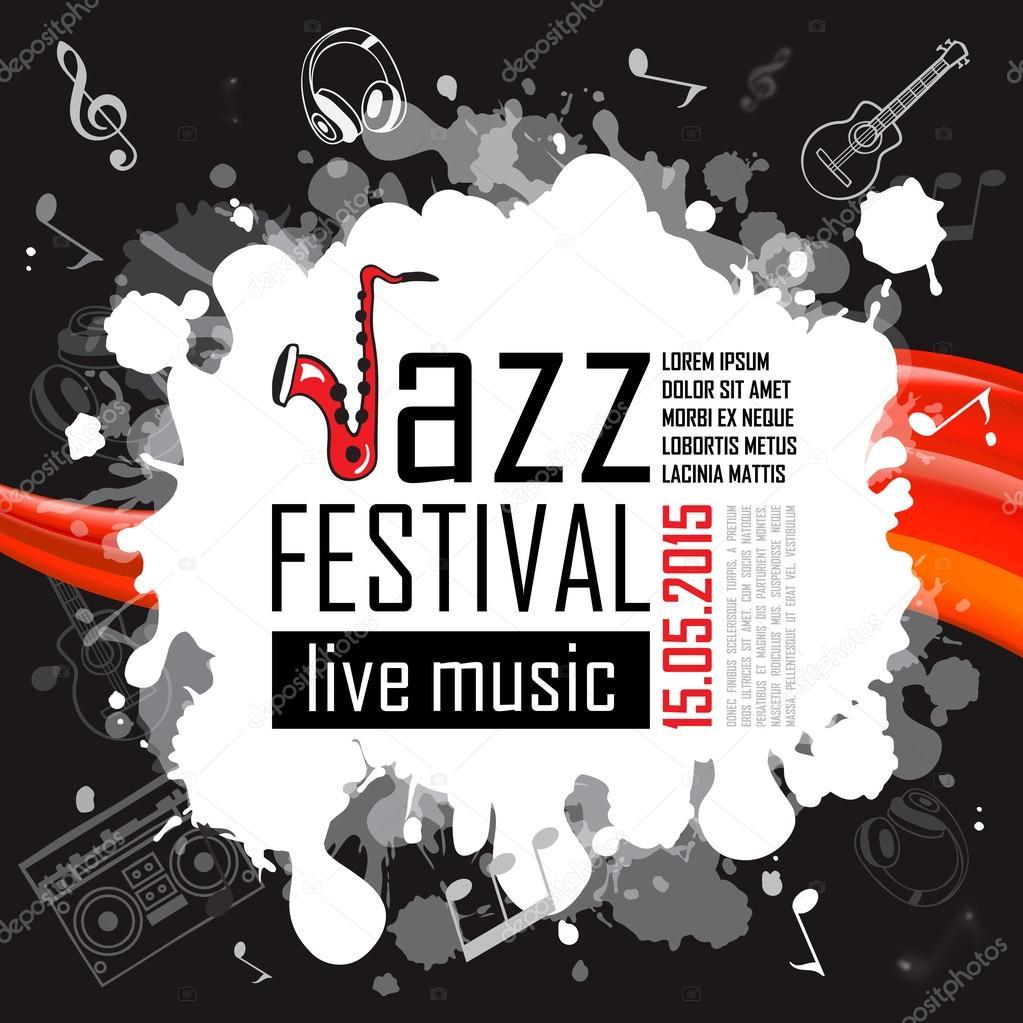 Jazz-Musik, Plakat Hintergrund Vorlage — Stockvektor © An.Brosko ...