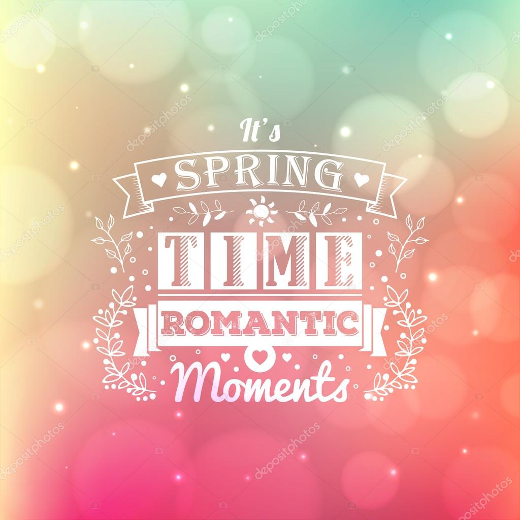 Vintage typography spring lettering and blurred vector background with bokeh