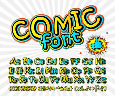 Font in the style of comics. Kids letters