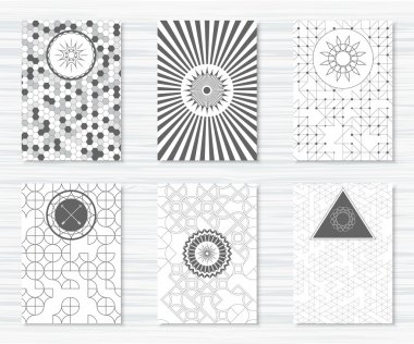 Set of flyers with geometric patterns and hipster icons