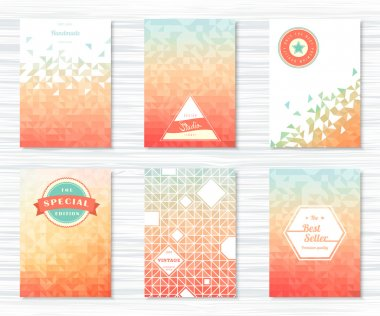 Set of flyers with geometric patterns, icons in vintage style