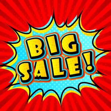 Creative colorful poster Big sale in Pop-Art Style. Comic book
