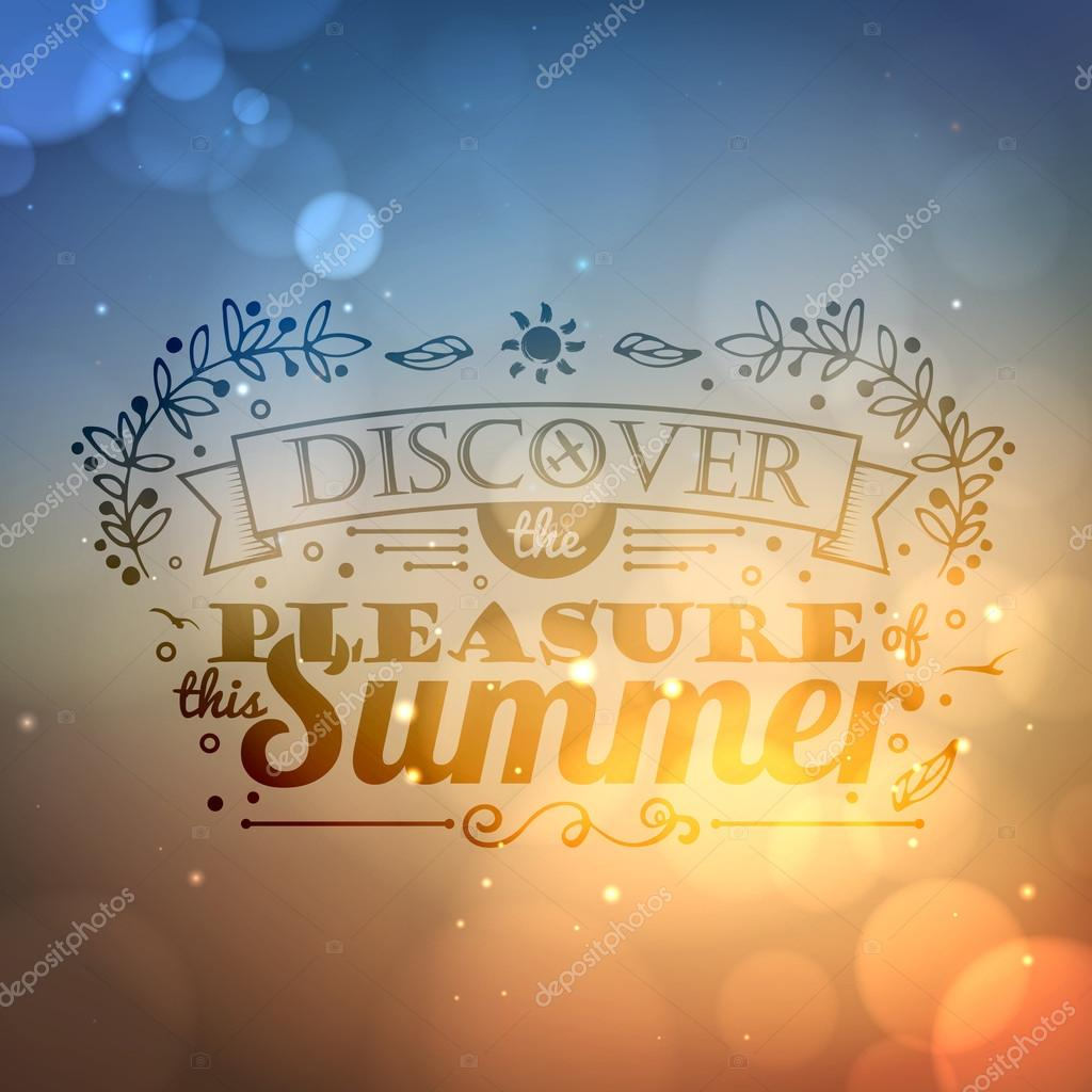 Vintage typography lettering summer design and blurred background