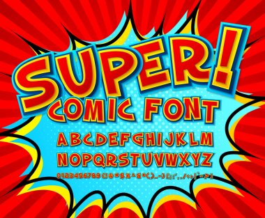 Creative high detail comic font. Alphabet in the style of comics and pop art. Multilayer funny colorful letters and figures for decoration of kids illustrations, websites, posters, comics and banners stock vector