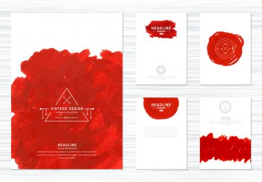 Stylish flyers. Creative cards with watercolor and hipster logos.