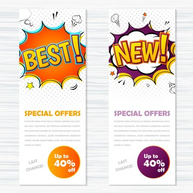 Vector templates banners comic style. Best and new