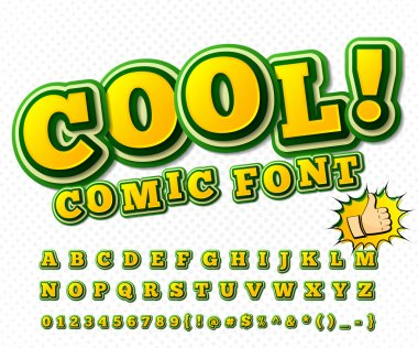 Comic font. Alphabet in style of comics, pop art.
