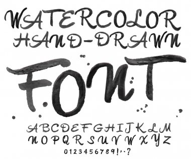Vector black watercolor font. Watercolour handwritten letters.