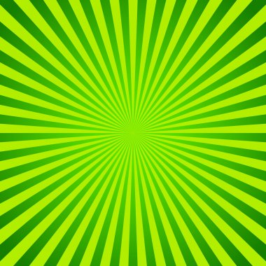 Green vector background of radial lines. Comic book
