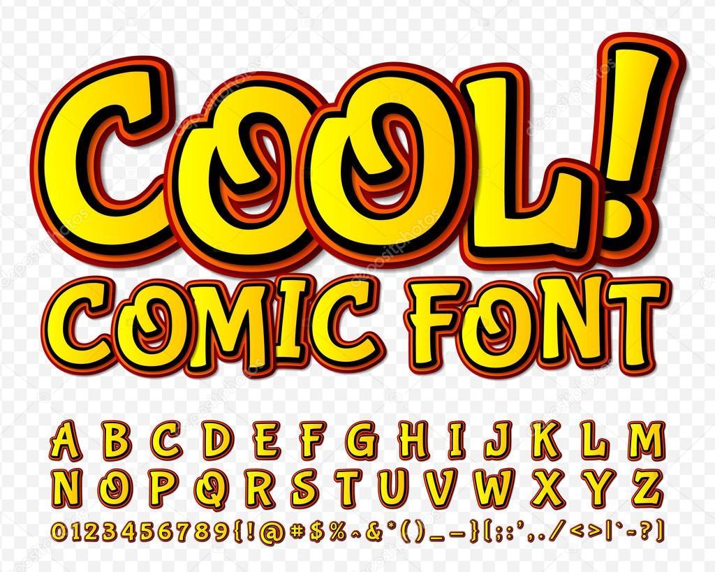 High detail yellow comic font. Alphabe, comics, pop art.