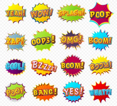 Collection speech bubbles and explosions in pop art style.