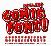 Fotografie Red-white high detail comic font, alphabet. Comics, pop art