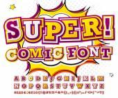 Fotografie Colorful high detail comic font, alphabet. Comics, pop art