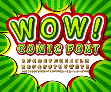 Green high detail comic font, alphabet. Comics, pop art
