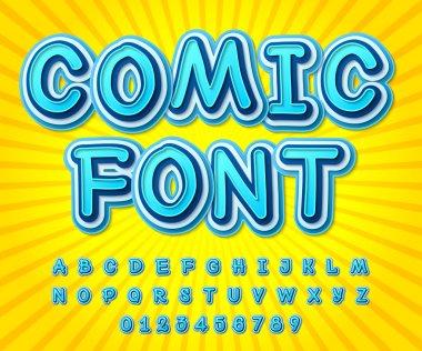 Blue high detail comic font, alphabet. Comics, pop art