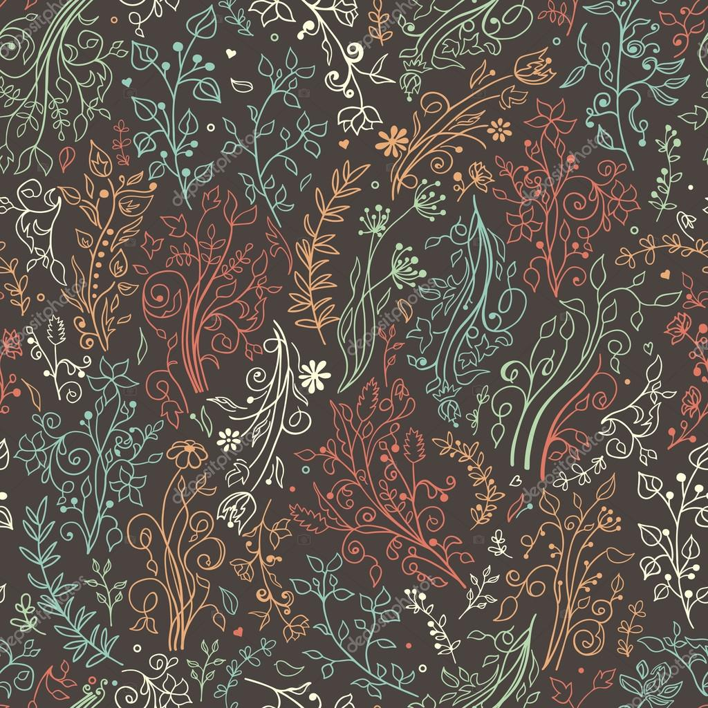 Floral seamless pattern. Decorations, leaves, flower ornaments