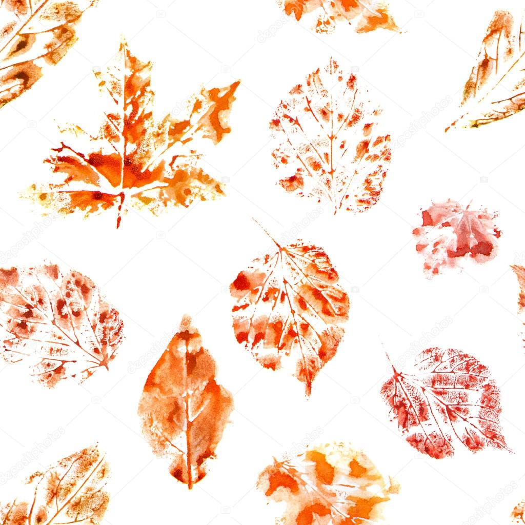 Watercolor seamless pattern. Autumn leaves on white ground
