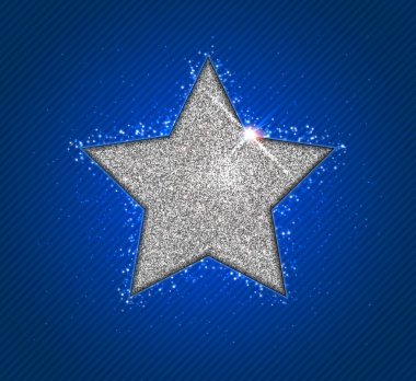 Silver shining star with reflection. Christmas greeting card
