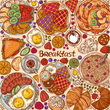Hand drawn vector illustration with mouth-watering morning dishes. Traditional breakfast top view frame. Various food background. Foodstuff elements collection icon