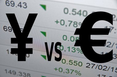Yen and euro sign on PC screen.