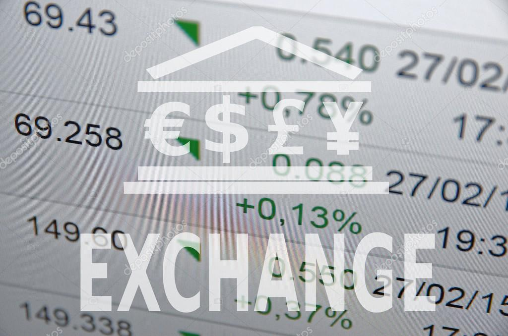 Inscription Exchange Building Icon With Major World Currencies