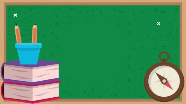 vissza az iskolába animáció táblával és kellékek 4k